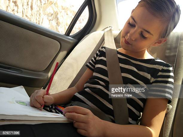Drawing in the car