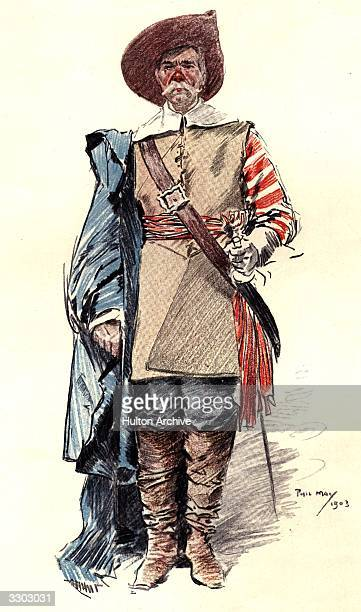 A drawing of a cavalier in the English Civil War by the Graphic humourist Phil May