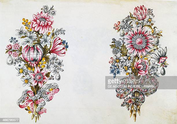 Drawing of a floralthemed bodice ornament Goldsmith art Italy 18th century