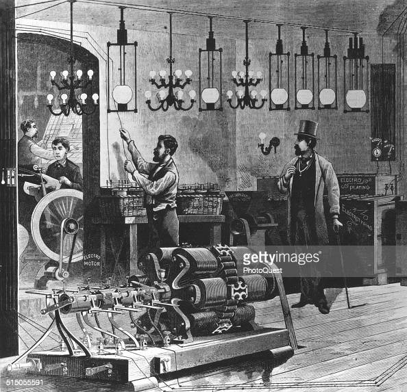 Drawing of an electric plant 1880s Among the workmen shown one is taking care of a electro motor while another adjusts a wire or coil Also shown are...