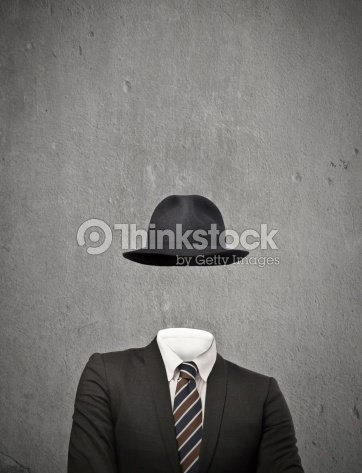Drawing of an invisible man wearing a suit and hat : Stock Photo