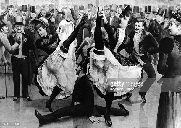 A drawing of cancan dancers among the crowd at the MOULIN ROUGE musichall in Paris in the late XIXth century