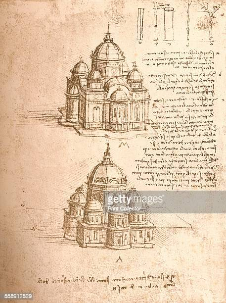 Drawing of churches c1472c1519 From The Literary Works of Leonardo Da Vinci Vol II by Jean Paul Richter PH DR [Sampson Low Marston Searle Rivington...