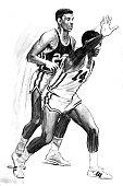 A drawing of Cincinnati Royals point guard Oscar Robertson circa 1964