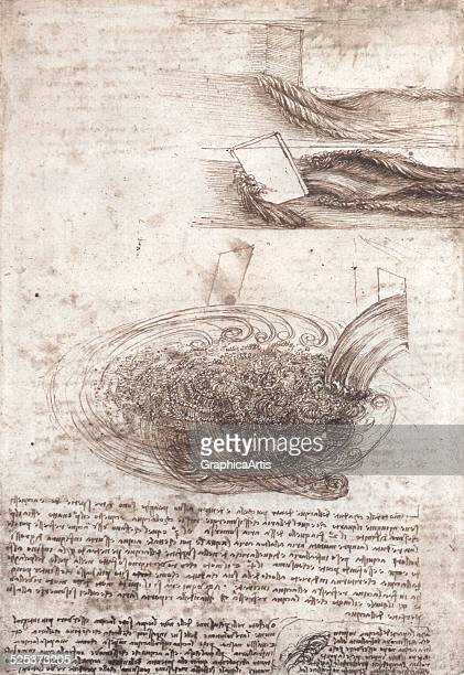 Drawing of flowing water by Leonardo da Vinci pen and ink over chalk circa 15101513 Located in the Royal Collection Windsor manuscript number 42r