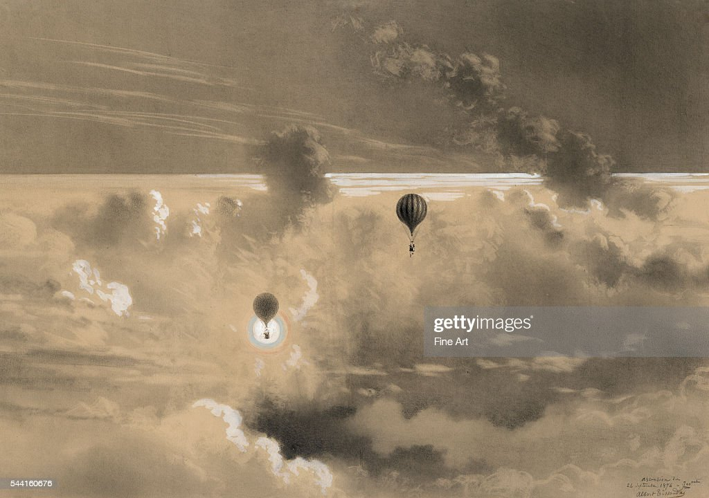 Drawing of Gaston and Albert Tissandier ascending in their balloon 'Zénith' on September 26 at 700 meters Graphite ink wash gouache and lead white...