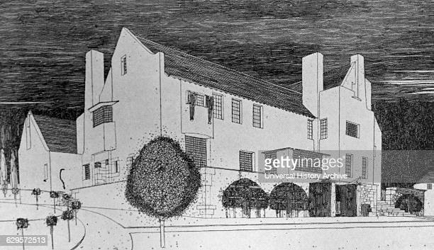 Drawing of Hill House Helensburgh built in 1903 Drawn by Charles Rennie Mackintosh a Scottish architect designer water colourist and artist Dated 1920