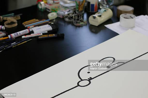 Drawing of Miffy on Dick Bruna's desk author of the Miffy books artist illustrator and graphic designer in his studio Utrecht The Netherlands 2nd...