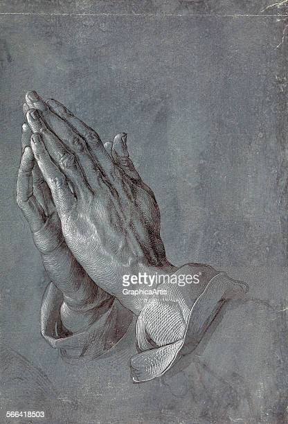 Drawing of praying hands by Albrecht Durer brush and gray wash with white on blue paper circa 1508 From the Albertina Museum Vienna