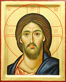 Representation of Jesus Christ face on wooden icon with gilding.