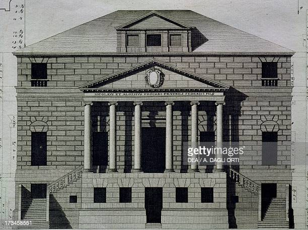 Drawing of Villa Foscari also known as La Malcontenta in Mira near Verona engraving by Ottavio BertottiScamozzi from The Buildings and Designs of...