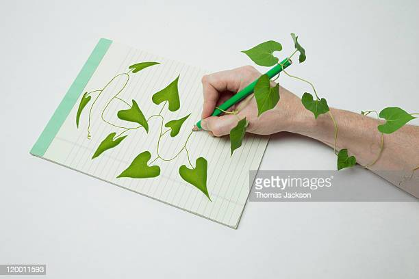 Drawing of vine coming alive off of page