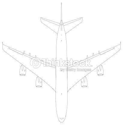 Drawing Of Wireframe Airplane Top View Stock Photo