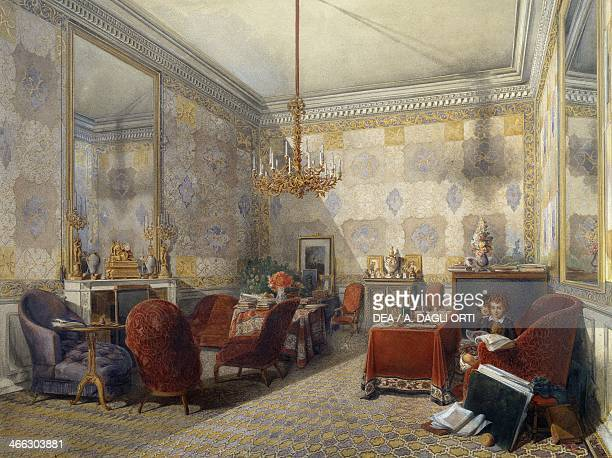 Drawing room watercolour by Fernand Pelez de Cordova
