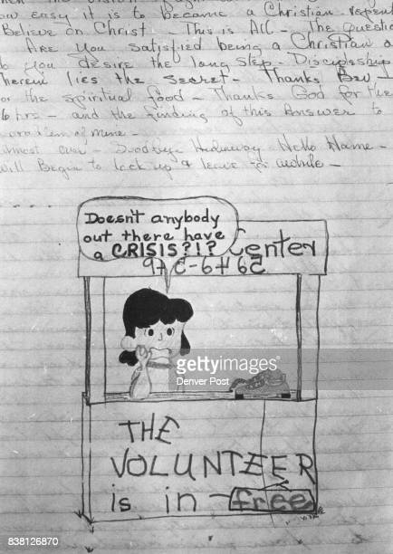 A drawing sketched on page in volunteers diary adds a light touch of humor to deep thought Credit Denver Post