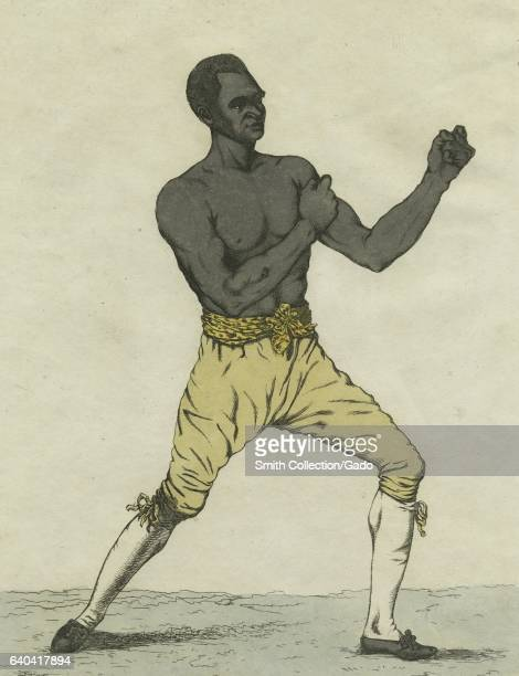 A drawing titled a 'Striking view of Richmond in which an AfricanAmerican man is in a fighting pose Staten Island New York 1810 From the New York...