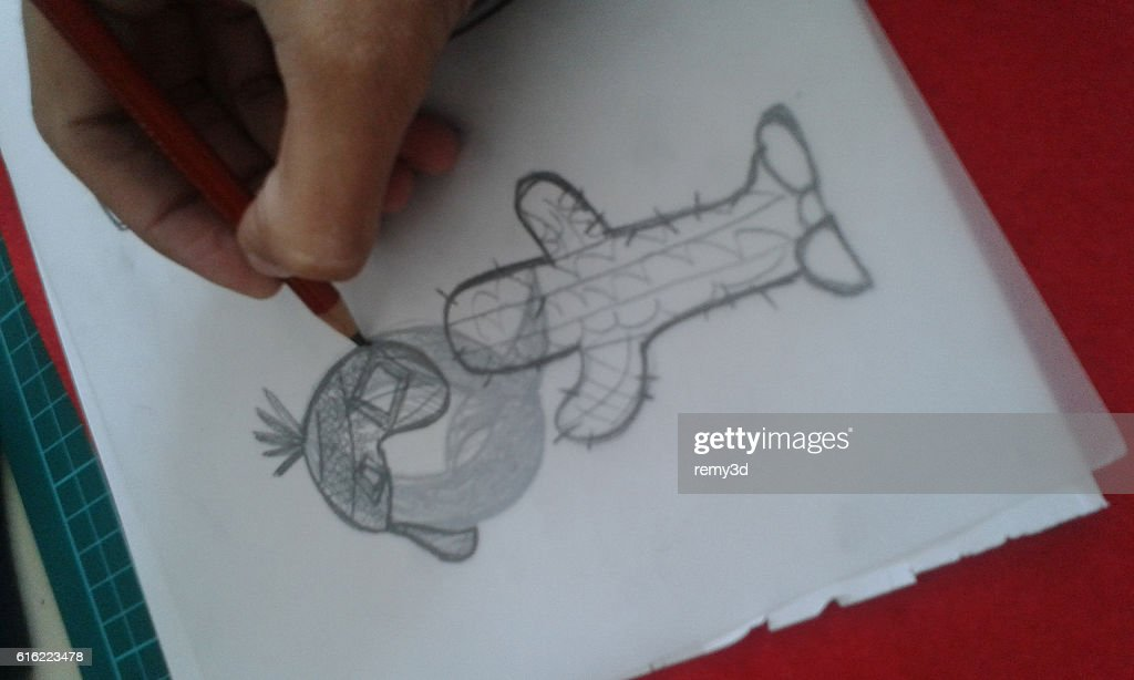 Drawing with a pencil : Stock Photo