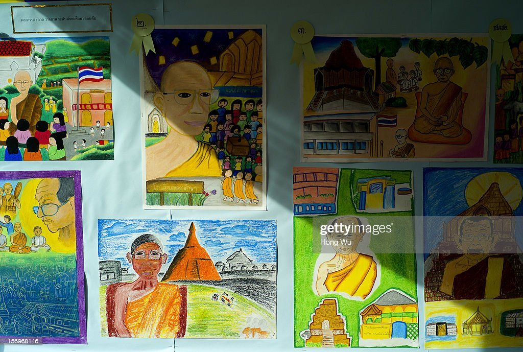 Drawing works of Thai students are shown at Wat Chedi Luang on November 26, 2012 in Chiang Mai, Thailand. Chiang Mai is the largest and most culturally significant city in northern Thailand. It's a former capital of the Kingdom of Lanna (1296-1768) and was the tributary Kingdom of Chiang Mai from 1774 until 1939. In recent years, is has become an increasingly modern city and has been attracting over 5 million visitors each year, of which between 1.4 million and 2 million are foreign tourists.