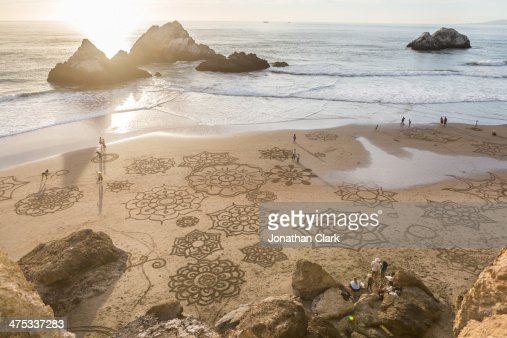 Drawings in the sand on the beach in San Francisco
