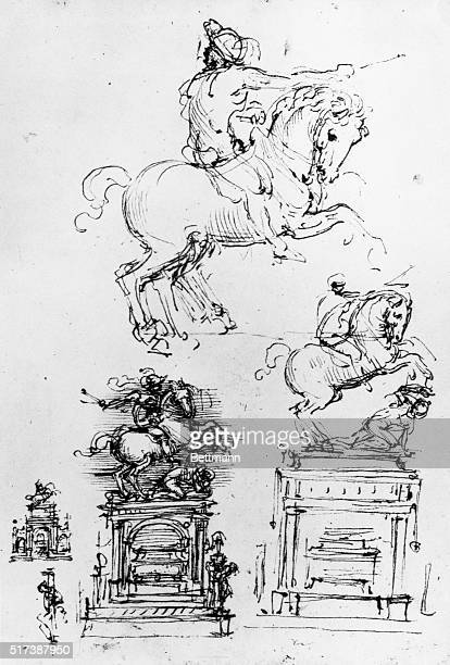 Drawings of an unrealized funeral monument for Gian Giacomo Trivulzio | Located in Royal Library