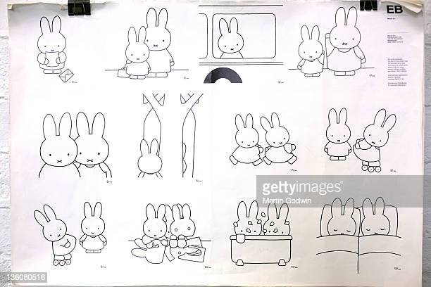 Drawings of Miffy made by Dick Bruna author of the Miffy books artist illustrator and graphic designer in his studio Utrecht The Netherlands 2nd...