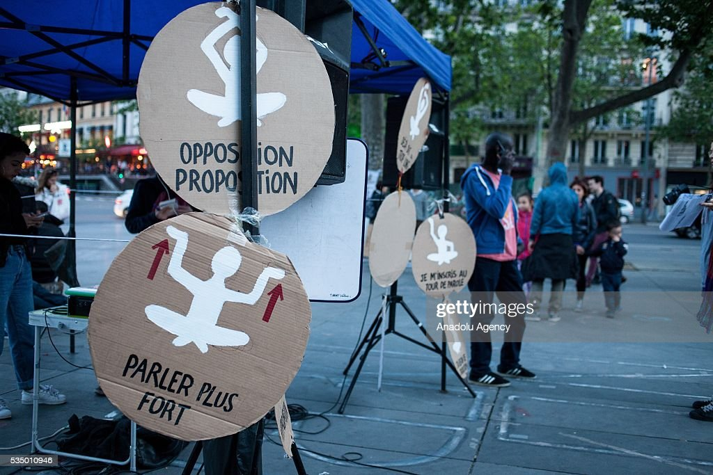 Drawings reminiscent communications rules during meetings on the Place de la Republique during the Global Debout meeting as the 'Nuit Debout' in Paris, France on May 28, 2016.