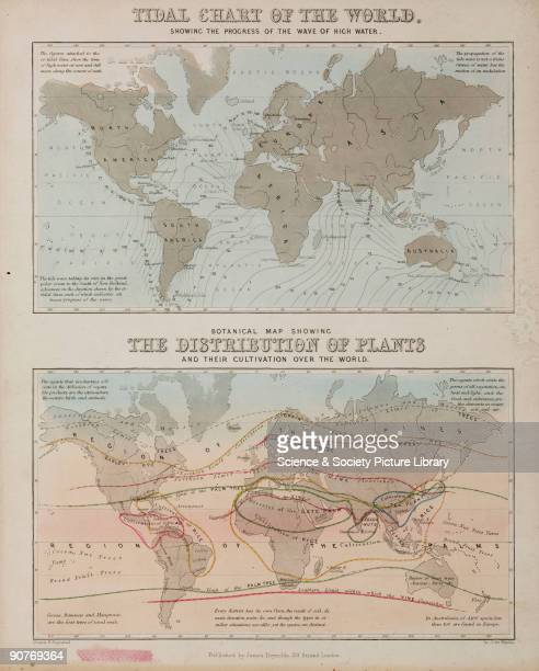 Drawn and engraved by John Emslie part of a set of 44 educational charts published by James Reynolds The first map shows the tides and the second the...