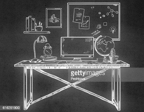 Drawn office workplace : Foto de stock