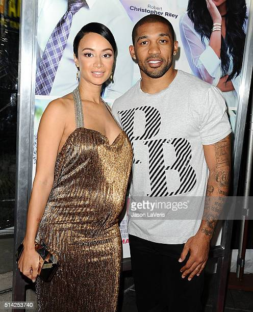 Draya Michele and Orlando Scandrick attend the premiere of 'The Perfect Match' at ArcLight Hollywood on March 7 2016 in Hollywood California