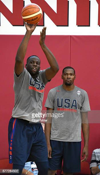 Draymond Green of the 2016 USA Basketball Men's National Team shoots as Kevin Durant of the 2016 USA Basketball Men's National Team looks on during a...
