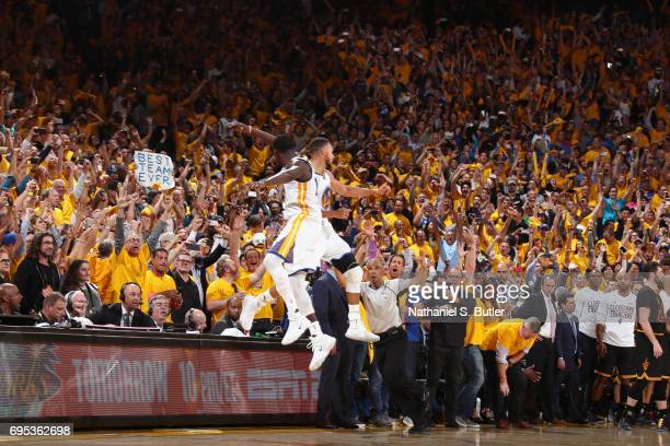 Draymond Green and Stephen Curry of the Golden State Warriors chest bump after winning Game Five of the 2017 NBA Finals against the Cleveland...