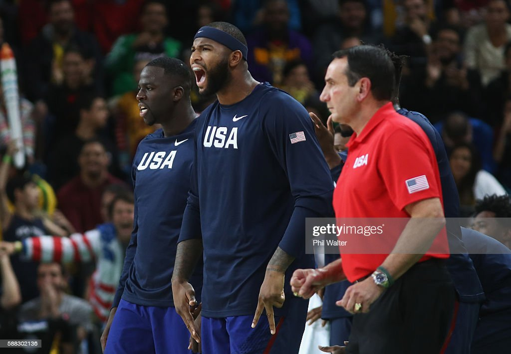 Draymond Green #14, Demarcus Cousins #12, and head coach Mike Krzyzewski of United States react during the Men's Preliminary Round Group A between Australia and the United States on Day 5 of the Rio 2016 Olympic Games at Carioca Arena 1 on August 10, 2016 in Rio de Janeiro, Brazil.