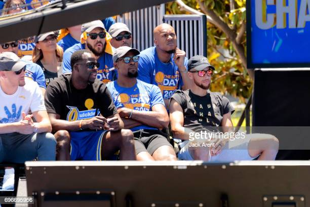 Draymond Green Kevin Durant and Stephen Curry of the Golden State Warriors of the Golden State Warriors celebrates winning the 2017 NBA Championship...