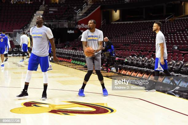 Draymond Green Kevin Durant and Stephen Curry of the Golden State Warriors look on during practice and media availability as part of the 2017 NBA...