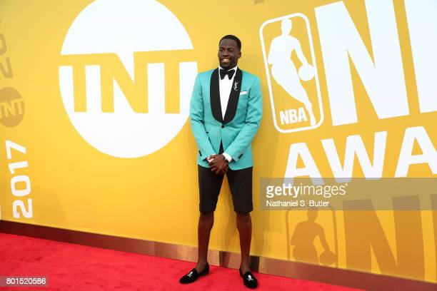 Draymond Green of the Golden State Warriors arrives at the red carpet at the NBA Awards Show on June 26 2017 at Basketball City at Pier 36 in New...