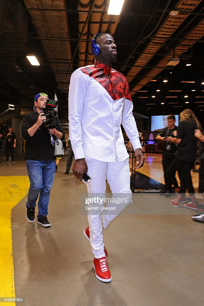 Draymond Green #23 of the Golden State Warriors arrives before Game Four of the 2016 NBA Finals against the Cleveland Cavaliers at The Quicken Loans Arena on June 10, 2016 in Cleveland, Ohio.