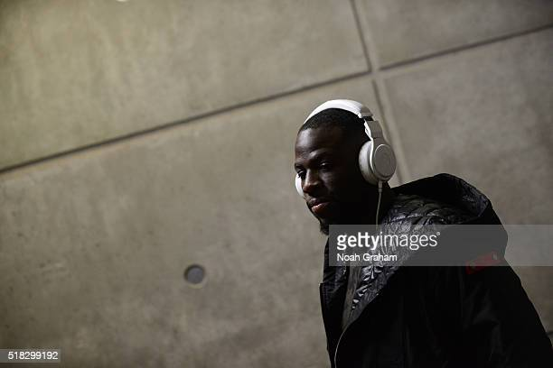 Draymond Green of the Golden State Warriors arrives before the game against the Utah Jazz on March 30 2016 at vivintSmartHome Arena in Salt Lake City...