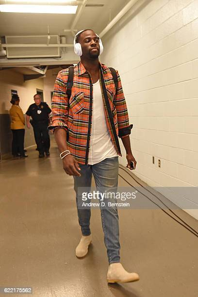 Draymond Green of the Golden State Warriors arrives prior to a game against the New Orleans Pelicans at Smoothie King Center on October 28 2016 in...