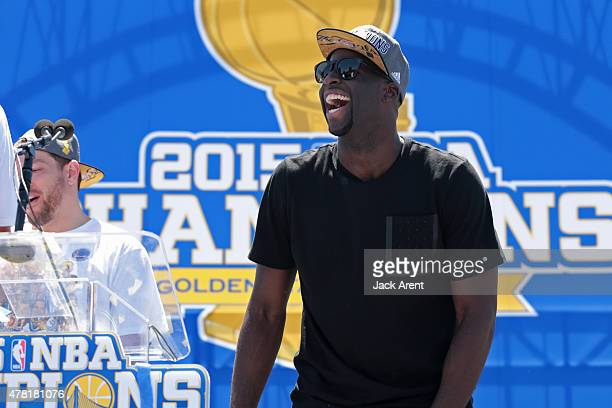 Draymond Green of the Golden State Warriors attends the Victory Parade And Rally on June 19 2015 in Oakland CA NOTE TO USER User expressly...
