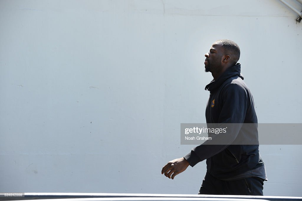 <a gi-track='captionPersonalityLinkClicked' href=/galleries/search?phrase=Draymond+Green&family=editorial&specificpeople=5628054 ng-click='$event.stopPropagation()'>Draymond Green</a> #23 of the Golden State Warriors before facing the Oklahoma City Thunder for Game Five of the Western Conference Finals during the 2016 NBA Playoffs on May 26, 2016 at ORACLE Arena in Oakland, California.