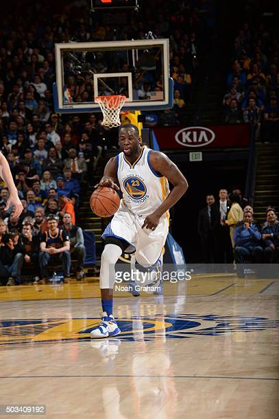 Draymond Green of the Golden State Warriors brings the ball up court against the Charlotte Hornets on January 4 2016 at Oracle Arena in Oakland...
