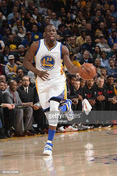 Draymond Green of the Golden State Warriors brings the ball up court against the Miami Heat on January 11 2016 at Oracle Arena in Oakland California...