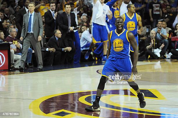 Draymond Green of the Golden State Warriors celebrates during the game against the Cleveland Cavaliers in Game Four of the 2015 NBA Finals at The...