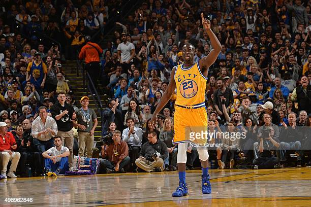 Draymond Green of the Golden State Warriors celebrates during the game against the Los Angeles Lakers on November 24 2015 at ORACLE Arena in Oakland...