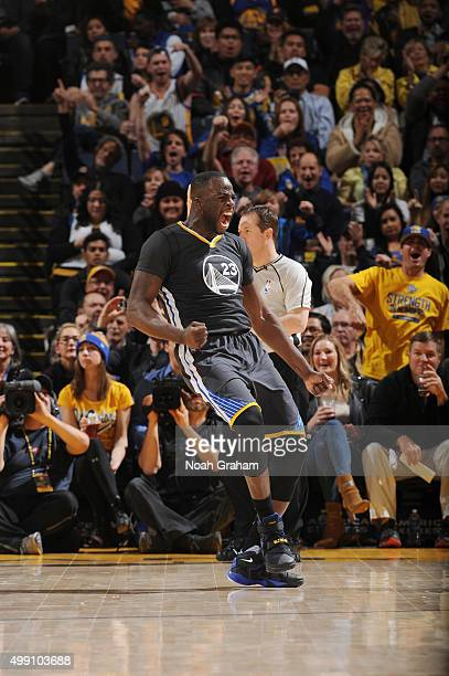 Draymond Green of the Golden State Warriors celebrates during the game against the Sacramento Kings on November 28 2015 at ORACLE Arena in Oakland...