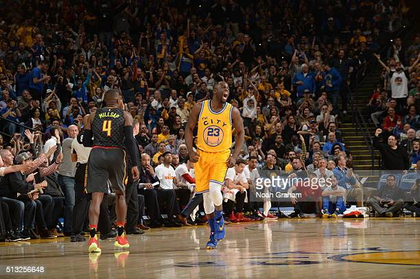 Draymond Green of the Golden State Warriors celebrates during the game against the Atlanta Hawks on March 1 2016 at Oracle Arena in Oakland...