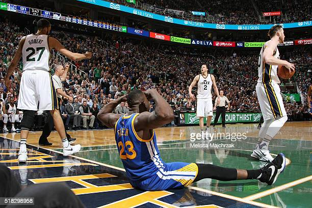 Draymond Green of the Golden State Warriors celebrates during the game against the Utah Jazz on March 30 2016 at vivintSmartHome Arena in Salt Lake...