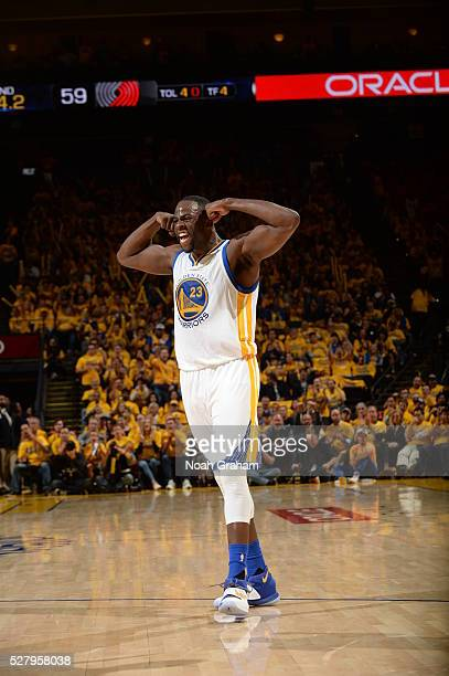 Draymond Green of the Golden State Warriors celebrates during the game against the Portland Trail Blazers in Game Two of the Western Conference...