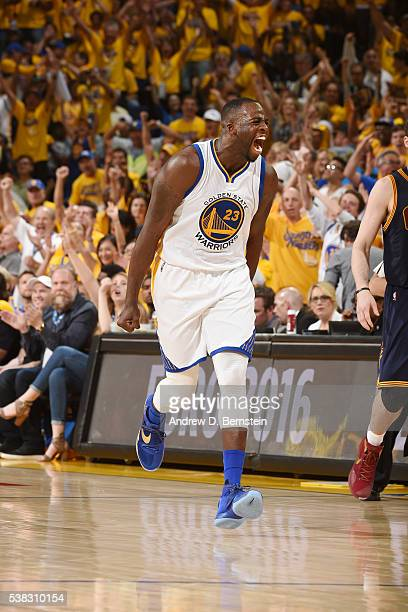 Draymond Green of the Golden State Warriors celebrates during the game against the Cleveland Cavaliers in Game Two of the 2016 NBA Finals on June 5...