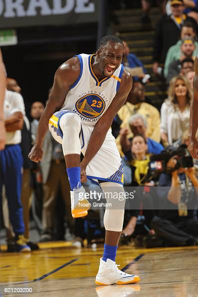Draymond Green of the Golden State Warriors celebrates during the game against the Oklahoma City Thunder on November 3 2016 at ORACLE Arena in...